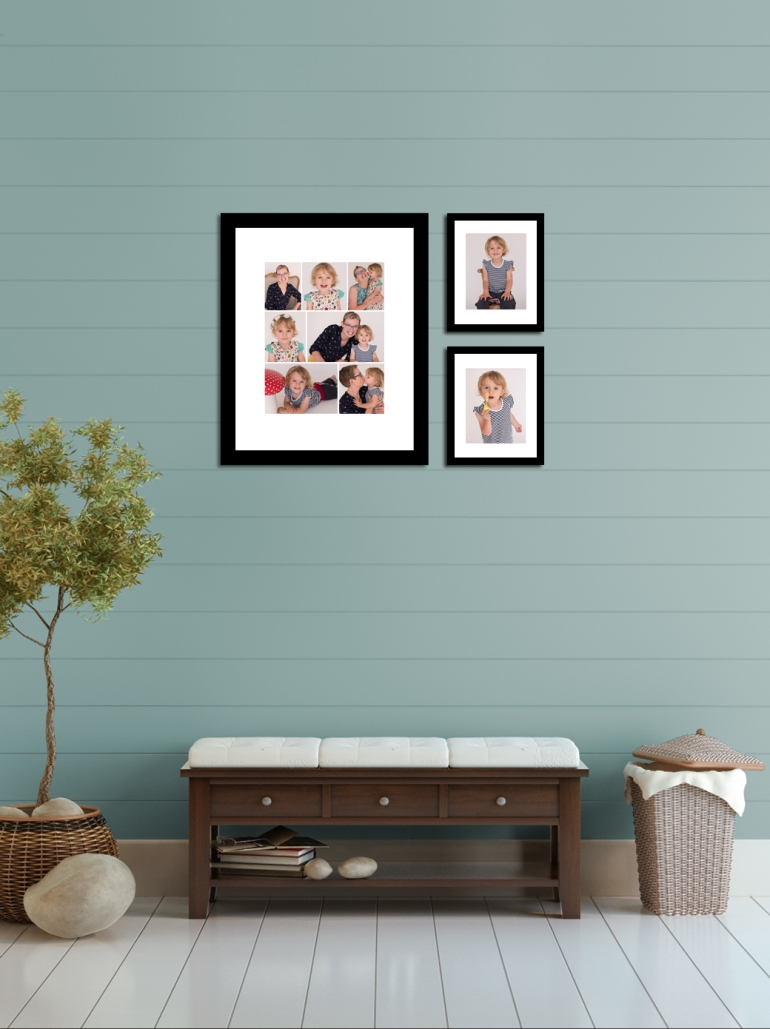 Hall with 16x20 and two 8x10 cluster portrait